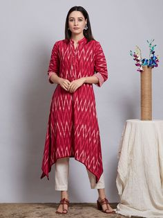 Magenta Cotton Ikat Asymmetric Kurta with Off White Pants - Set of 2 Simple Kurti Designs, Salwar Designs, Kurta Designs Women, Kurti Designs Party Wear, Blouse Designs, Long Dress Design, Stylish Dress Designs, Designs For Dresses, Kalamkari Dresses