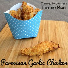 Parmesan Garlic Chicken Strips made with the help of your thermomix or similar. Traditional cooking instructions included as well. Garlic Chicken, Fried Chicken, Krispy Chicken, Breaded Chicken, Garlic Parmesan, Chicken Nuggets, Super Cook, Kids Meals, Easy Meals