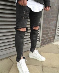 ankle zipper design Hi-Street Mens Black Ripped Jeans Men Fashion Male Distressed Skinny Jeans Destroyed Denim Jeans Trousers