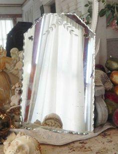 "Gorgeous Antique Vtg Floral Etched Scalloped Dresser Vanity Shabby Mirror 18"""