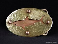 Recycled Brass and Copper Shark Belt Buckle. Via Etsy.