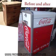 Old dresser transformed into vintage coke machine replica. DIY and tutorials at… Diy Wood Projects, Furniture Projects, Furniture Makeover, Repurposed Furniture, Custom Furniture, Painted Furniture, Waterfall Dresser, Coke Machine, Coca Cola Decor