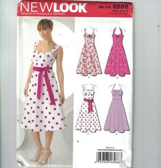 New Look 6966 Misses' retro style dress with bodice 4 Diy Clothing, Clothing Patterns, Dress Patterns, Sewing Patterns, Diy Fashion, Fashion Dresses, Sundress Pattern, Sewing Circles, Full Skirt Dress