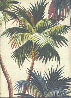 retro palm wallpaper -- so cute for a bathroom