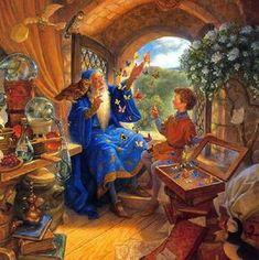 Merlin and Arthur - Illustration by Scott Gustafson Fairytale Art, Children's Book Illustration, Figurative Art, Fantasy Characters, Illustrators, Dragons, Fantasy Art, Book Art, Fairy Tales