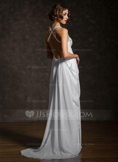 Empire Sweetheart Sweep Train Chiffon Wedding Dress With Ruffle Beadwork (002011570)
