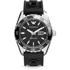 Emporio Armani Stainless Steel & Black Silicone Strap Watch, 46mm $245