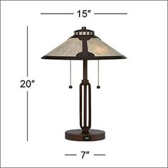 Rubbed Bronze Mica Shade Stained Glass Table Lamp