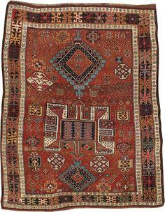 Kurdish tribal rug, from northwestern Iran, ca. early 20th century.  197 x 244 cm.