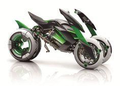 Kawasaki electronic motor cycle at Tokyo motor show. カワサキが電動変形3輪ヴィークル『J』を公開。東京モーターショーで展示 - Engadget Japanese