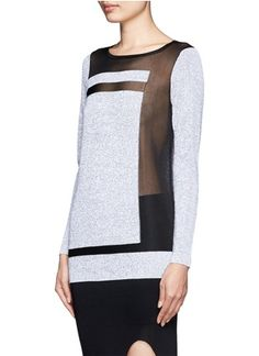 HELMUT LANG - Plov sheer blocking knit top   Multi-colour Long Sleeve Knitwear   Womenswear   Lane Crawford