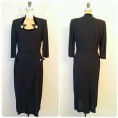 bfff5c8a8ec Vintage 1940s Black Crepe Evening Gown