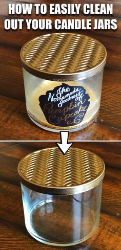 I love upcycling these! Easy trick for cleaning out those candle jars! This hack is perfect for those Bath and Body Works glass jars with lids. Great for storing small items! This is such a cheap and easy way to upcycle! Diy Organizer, Diy Hacks, Diy Cleaning Products, Cleaning Hacks, Room Cleaning Tips, Apartment Cleaning, Cleaning Solutions, Fee Du Logis, Glass Jars With Lids