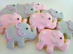 Pink and Grey Elephant Mini Cookies 2 Dozen by acookiejar on Etsy, $33.95