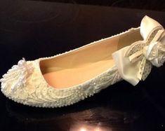 Items similar to Elfina Bourique Boston Wedding Shoes Bridal Flats Rhinestones Pearls Hand Embellished on Etsy