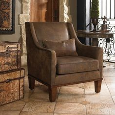 Shop for Uttermost Clay Leather Armchair, and other Living Room Arm Chairs at Creative Interiors and Design in Vancouver, WA. Tuscan Furniture, Accent Furniture, Furniture Ideas, Wood Furniture, Rustic Italian, Italian Home, Italian Villa, Tuscan House, Mediterranean Home Decor