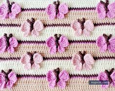 Free Crochet Pattern See how to crochet butterfly motif and put it on the blanket, this is really not difficult but very effective. Picot Crochet, Crochet Motifs, Crochet Stitches Patterns, Tunisian Crochet, Love Crochet, Crochet Flowers, Knitting Patterns, Stitch Patterns, Crochet Designs