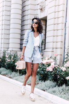 Outfits con traje sastre en short