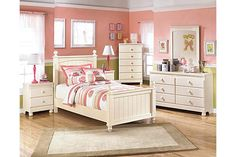 """The Cottage Retreat Poster Bedroom Set from Ashley Furniture HomeStore (AFHS.com). The """"Cottage Retreat"""" youth bedroom collection takes early American country design to create a fun and inviting cottage retreat perfect for any child's bedroom."""