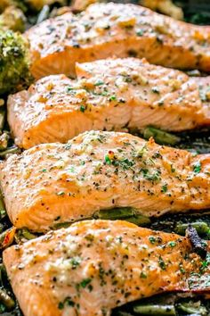 Garlic Butter Baked Salmon Tender And Juicy Salmon Brushed With An Incredible Garlic Butter Sauce And Baked On A Sheet Pan With Your Favorite Veggies Salmon Garlic Baked Butter Seafood Fish Ocean Delicious Delicious Salmon Recipes, Baked Salmon Recipes, Fish Recipes, Seafood Recipes, Cooking Recipes, Baked Salmon Filets, Oven Baked Salmon, Keto Salmon, Garlic Butter Sauce