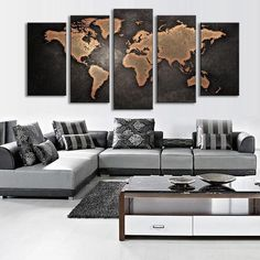 "Free Shipping! One of our best sellers, this vintage world map looks great with almost any decor! This stunning print is printed on high quality canvas, and is sure to stand up as a conversation piece in your room for years to come!  Also available as a 3 Piece Set!  Finished Size on Wall - Size 1:  50"" x 24"" Finished Size on Wall - Size 2:  60"" x 32"" 10"" x 24"" x 1 pieces 10"" x 20"" x 2 pieces 10"" x 16"" x 2 pieces 12"" x 32"" x..."