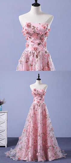 2018 New Prom Dresses | Pink tulle long prom dress with 3D flowers #prom #dresses #promdress #promdresses