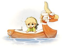 "The Legend of Zelda: The Wind Waker, Toon Link and The King of Red Lions / ""...but what if he got seasick"" - fluffysheeps on Tumblr"