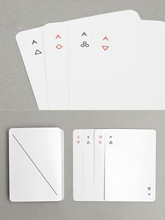 The elegant Iota deck of playing cards features simple geometric symbols of hearts, clubs, and diamonds reduced to a minimum. Design by Joe Doucet.