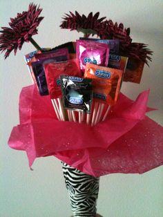 Condom bouquet... super easy to make!
