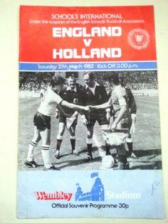 England v Holland Schools International Football Programme 27/03/1982 Listing in the Other,International Fixtures,Football (Soccer),Sports Programmes,Sport Memorabilia & Cards Category on eBid United Kingdom