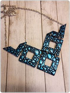 Unique Geometric Polymer Clay Bib Statement Necklace   Polymer Clay Jewelry   One Of A Kind   Unique Jewelry Gift   Statement Piece