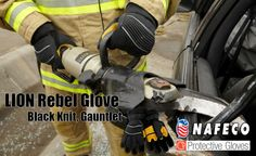 LION Rebel Glove, Black Knit, Gauntlet, NFPA: A dynamic, three-dimensional design features a 14-piece ergonomic shell that allows for maximum dexterity and comfort. Optimal Protection, Dexterity and Comfort.