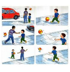 ball in street Sequencing Pictures, Sequencing Cards, Story Sequencing, Sequencing Activities, Speech Therapy Activities, Preschool Activities, Speech Language Therapy, Speech And Language, Learning Support