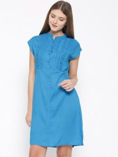 Blue Solid A- Line Dress Cute Short Dresses, Nice Dresses, Summer Dresses, All Fashion, Trendy Fashion, Amazing Shopping, Mandarin Collar, New Dress, Dresses Online
