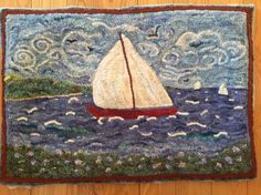 Making art with wool. An interactive rug-hooking community. Punch Needle, Rug Hooking, Rugs Online, Textile Art, Small Rugs, Fiber Art, Sailing, Boat, Textiles