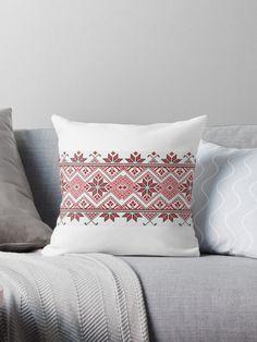 'Palestinian embroidery - mug printing' Throw Pillow by HosamH Pillow Embroidery, Hand Embroidery Stitches, Hand Embroidery Designs, Cross Stitch Embroidery, Modern Bed Pillows, Cross Stitch Cushion, Palestinian Embroidery, Red Cushions, Swedish Weaving