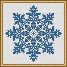 Snowflake Cross Stitch Pattern Floral Snowflake Monochrome Vintage Snowflake Counted Cross Stitch/Filet Crochet Pattern PDF More