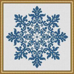 Snowflake Cross Stitch Pattern Floral Snowflake Monochrome Vintage Snowflake Counted Cross Stitch/Filet Crochet Pattern PDF More