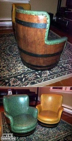 Barrel Chair, totally man cave worthy for the right kind of guy.  LOOKS LIKE A LYNN PROJECT!!!