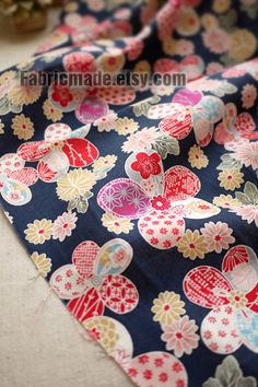 """Bright Flower Fabric, Flower Cotton Fabric, Japanese Fabric, Japan Fabric, Kimono Fabric - Blue Floral fabric 1/2 yard 18""""X57"""" for Pillows/Chair Recover"""