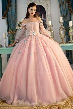Duchesse-Linie Carmen-Ausschnitt Bodenlang Tülle Abiballkleider
