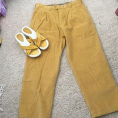 """Burberry stretch cords, 44, 10-11 US Gold colored cords 98% cotton, 2% Lycra. Waist 17""""across, hips 20-1/2"""", waist to crotch 14"""", to hem, 26-1/2"""". Two front slant pockets, one coin pocket at waist. One back buttoned pocket. Never worn but washed. Nwot Burberry Pants Straight Leg"""