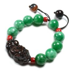 Green Jade bracelet , adjustable - 7-10 inches, Fortune Feng shui tiger Carved Obsidian with fortune coins on the back 32x20x16 mm Green jade