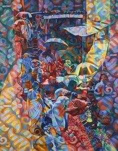 UN MARCHE A DELHI / Dimensions : 114 cm x 146 cm / Techniques de réalisation : Huile / Date de création : 1997 / Support : Toile / Tarif : http://www.art-acquisition.com/fr/content/un-marché-à-delhi