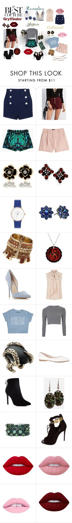 """Modern Hogwarts Houses Fashion"" by nic-yeol on Polyvore featuring Miss Selfridge, Refuge, McQ by Alexander McQueen, Nina, Steve Madden, MaxMara, Glamorous, Roberto Cavalli, Charles David and HEET"
