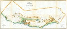 1854 map of California with now-lost Tulare Lake, then largest lake west of Mississippi #map #california