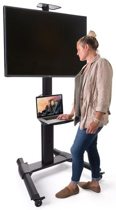 Widescreen Monitor Stand on Wheels - Supports up to 110 lb TVs Rolling Tv Stand, Tv Stand On Wheels, Flat Screen Tv Stand, George Patton, Monitor Stand, Cable Box, Laptop Stand, Cable Management, Mounted Tv