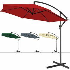 Alu Sonnenschirm 3,0m Ampelschirm + Handkurbel Schirm Marktschirm Gartenschirm