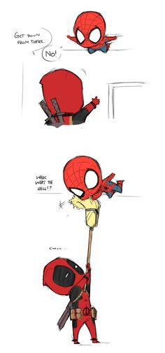 spiderman and deadpool. I love Spiderman and Deadpool! Manga Anime, Anime Kiss, Anime Art, Deadpool Und Spiderman, Batman, Deadpool Funny, Spiderman Play, Deadpool Chibi, Parker Spiderman