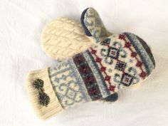 Your place to buy and sell all things handmade Sweater Mittens, Wool Sweaters, Recycled Sweaters, Stay Warm, Wearable Art, Unique Gifts, Christmas Gifts, Holidays, Pattern